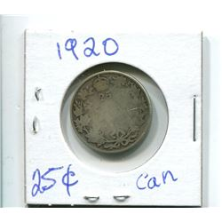 1920 25 CENT CANADIAN COIN