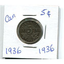 1936 CANADIAN NICKEL 1922 CANADIAN NICKEL