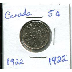 1922 CANADIAN NICKEL
