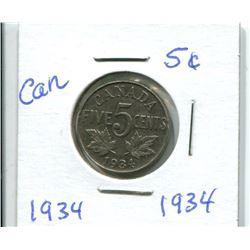 1934 CANADIAN NICKEL