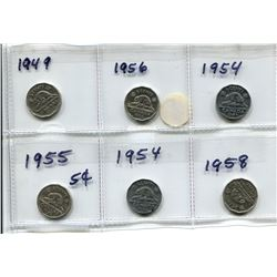 6 CANADIAN 5 CENT COINS - 1949, 1956, 1954, 1955, 1954, 1958