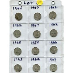 12 SILVER 25 CENT COINS - 60S, 1947, 1959