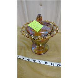 CARNIVAL CANDY DISH AND LID