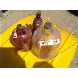 3 VINTAGE GLASS JUGS