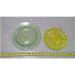 DEPRESSION GLASS AND GREEN DIVIDER DISH