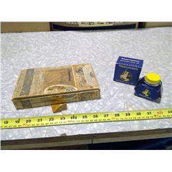 WATERMAN'S INKWELL (FULL) AND TOBACCO BOX