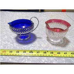 GLASS CREAM AND SUGAR