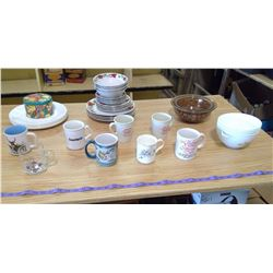 MUGS, CHINA, BOWLS, PLATES, ETC.
