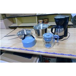 COFFEE MAKER, KETTLE, AND FRYING PANS