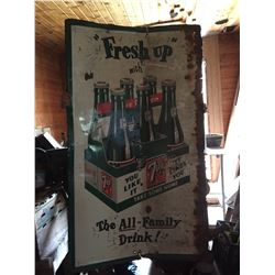 Antique metal 7 up sign