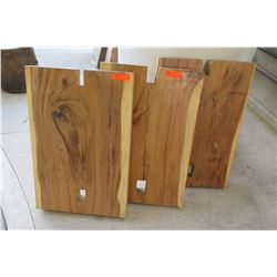 Qty 3 Solid Wood Slabs with Cutouts