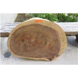 "Round Solid Wood Slab w/ Polished Bark 38"" x 27"""