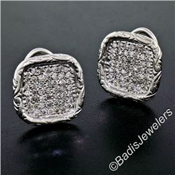 Engraved 18kt White Gold 1.12 ctw Pave Set Round Diamond Square Button Earrings