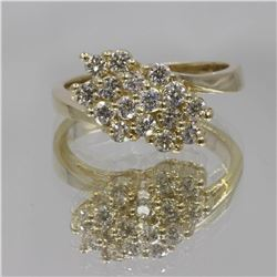 0.64 ctw Diamond Cluster Ring - 14KT Yellow Gold