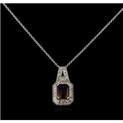 2.75 ctw Ametrine and Diamond Pendant With Chain - 14KT White Gold