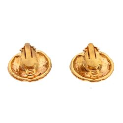 Chanel Vintage Gold CC Round Hammered Disc Clip On Earrings