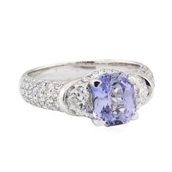 3.20 ctw Sapphire and Diamond Ring - 18KT White Gold