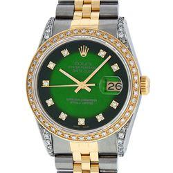 Rolex Mens 2 Tone 14K Green Vignette Diamond Lugs Datejust Wristwatch