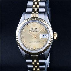 Rolex Ladies 2 Tone 14K Champagne Roman Fluted Datejust Wristwatch