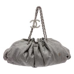 Chanel Grey Melrose Fabric Cabas Tote Bag