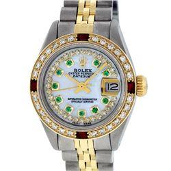 Rolex Ladies 2 Tone 14K MOP Emerald & Ruby  Datejust Wriswatch