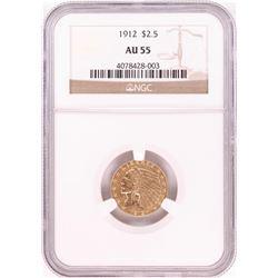 1912 $2 1/2 Indian Head Quarter Eagle Gold Coin NGC AU55