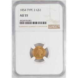 1854 $1 Type 2 Liberty Head Gold Dollar Coin NGC AU55