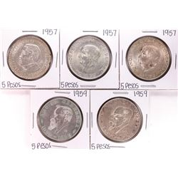 Lot of (5) Assorted Date Mexico Cinco Pesos Silver Coins