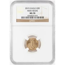 2015 Wide Reeds $5 American Gold Eagle Coin NGC MS70