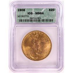 1908 No Motto $20 St. Gaudens Double Eagle Gold Coin ICG MS64