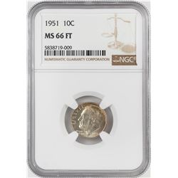1951 Roosevelt Dime Coin NGC MS66FT