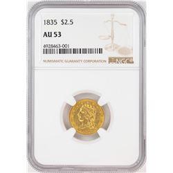 1835 $2 1/2 Classic Head Quarter Eagle Gold Coin NGC AU53