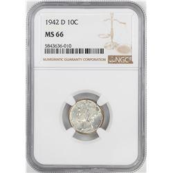 1942-D Mercury Dime Coin NGC MS66