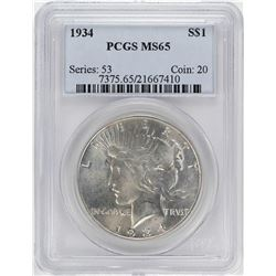 1934 $1 Peace Silver Dollar Coin PCGS MS65