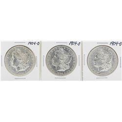 Lot of (3) 1904-O $1 Morgan Silver Dollar Coins