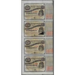 Uncut Sheet of (4) State of Louisiana Baby Bond Obsolete Notes - Internal Tear