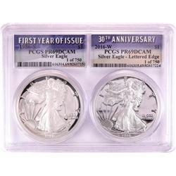 1986-S & 2016-W $1 Proof American Silver Eagle Coin Set PCGS PR69DCAM