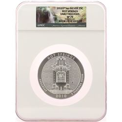 2010-P Hot Springs 5oz Silver Quarter Coin NGC SP70 Early Releases