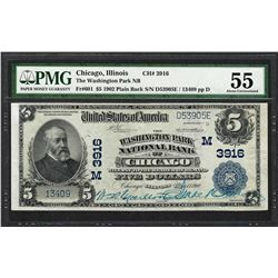 1902PB $5 Washington Park Chicago, IL CH# 3916 National Note PMG About Uncirculated 55