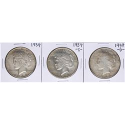 Lot of 1934, 1934-S, & 1934-D $1 Peace Silver Dollar Coins