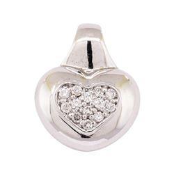 14KT White Gold 0.30 ctw Diamond Heart Motif Pendant