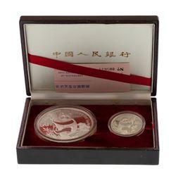 1987 People's Republic China Silver 2-Piece Proof Panda Set