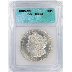 1885-CC $1 Morgan Silver Dollar Coin ICG MS62
