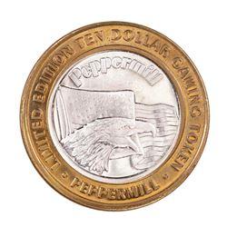 .999 Silver Peppermill Hotel Casino Reno, NV $10 Casino Limited Edition Gaming Token