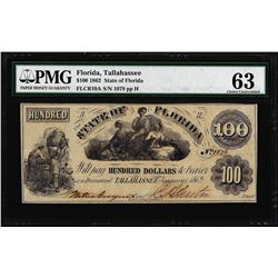 1862 $100 State of Florida Tallahassee Cr.10A Obsolete Note PMG Ch. Uncirculated 63