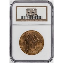 1904-S $20 Liberty Head Double Eagle Gold Coin NGC MS63