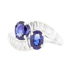 Platinum 1.70 ctw Blue Sapphire and Diamond Ring