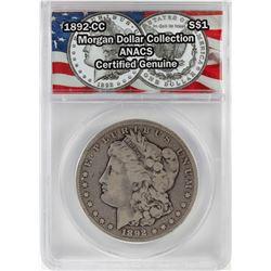 1892-CC $1 Morgan Silver Dollar Coin ANACS Certified Genuine