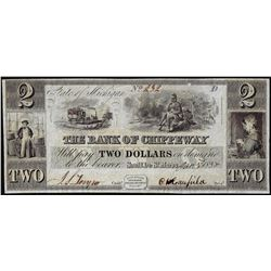 1838 $2 The Bank of Chippeway State of Michigan Obsolete Note