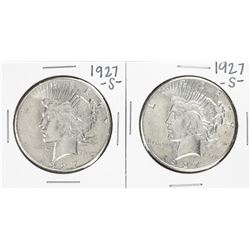 Lot of (2) 1927-S $1 Peace Silver Dollar Coins